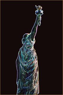 Image of  Statue of Liberty  near  City of Jersey City. statueoflibertyusa newyorkharborny statueoflibertynewyorkharborny