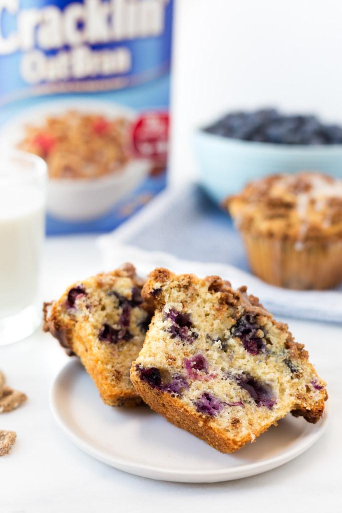 cracklin oat bran blueberry crunch muffins cut #shop #ad