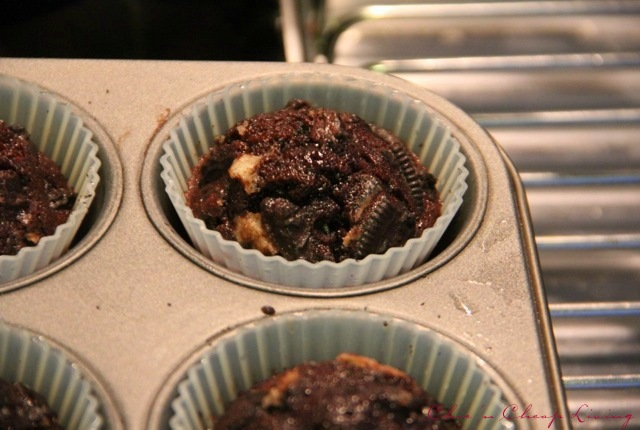 Cookies and cream cupcakes out of oven by Chic n Cheap Living