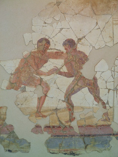 Fresco from the luxurious latrine of the Baths of the Wrestlers depicting wrestlers, 3rd century AD, Saint-Romain-En-Gal