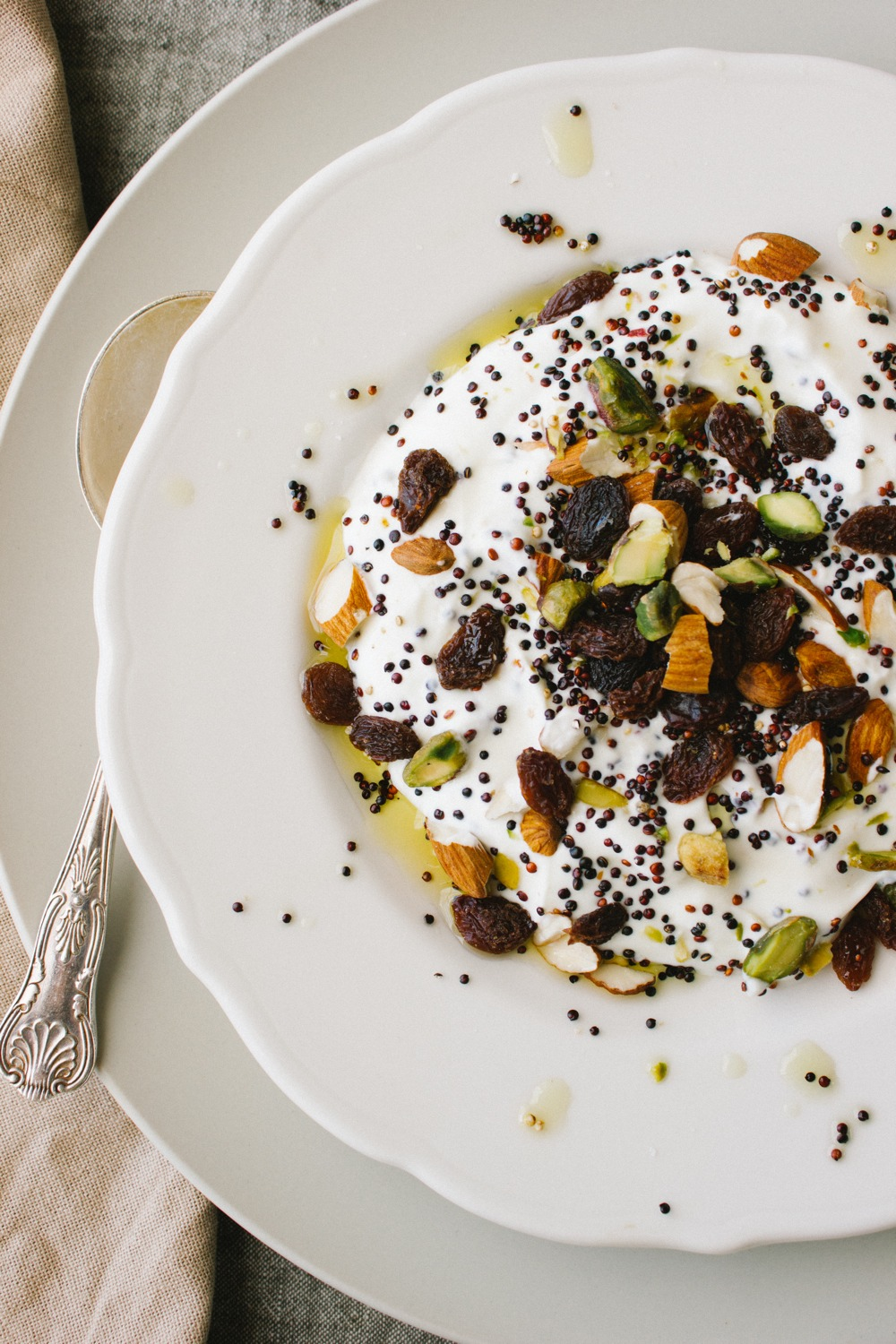 Yoghurt with Toasted Quinoa, Nuts and Fruit on Simple Provisions
