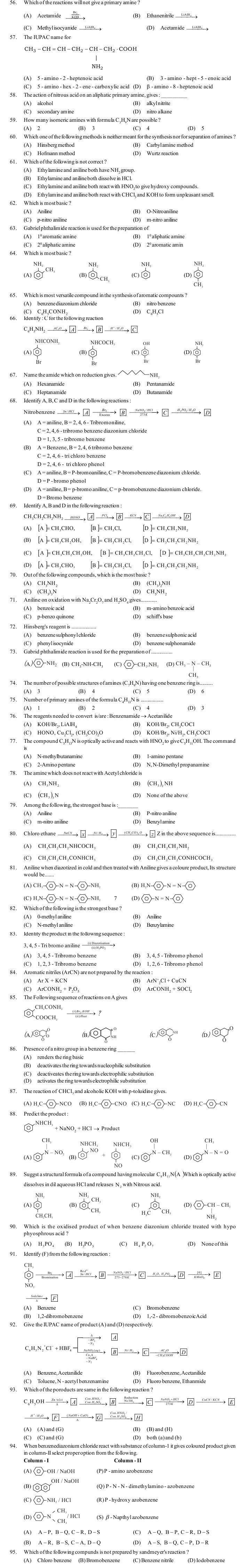 JEE and AIPMT Question Bank: Chemistry - Organic Compounds Containing Nitrogen