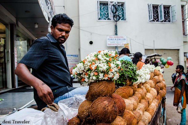 Flower and Coconut seller at Birla Temple Hyderabad