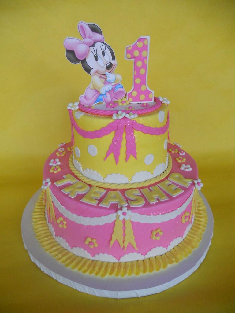 Fantastic Baby Minnie 1St Birthday Cake Amy Stella Flickr Birthday Cards Printable Riciscafe Filternl