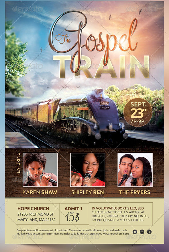 gospel train church concert flyer template