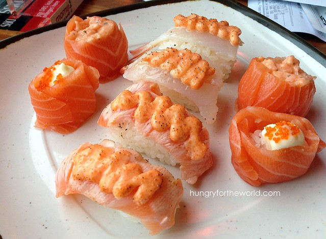 assorted salmon sushi