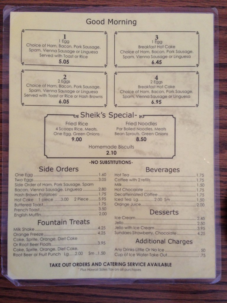 The Sheik Restaurant Menu
