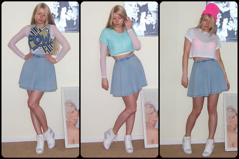 Topshop, American Apparel Dupe, Circle Skirt, Mini Skirt, Denim, Double Denim, How to Wear, Crop Top, Style Ideas