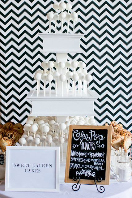 Custom white three tiered cake pop stand with chevron backdrop