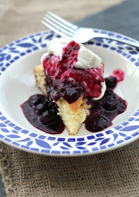 Buttermilk cake with blueberry sauce
