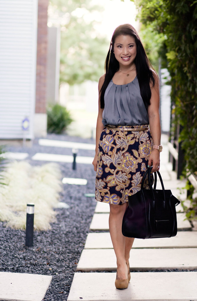dusty blue tank, paisley skirt, yellow pumps, celine luggage tote