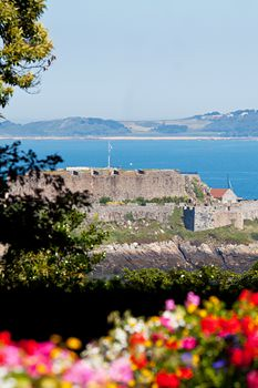 Castle Cornet with Herm Island in the distance