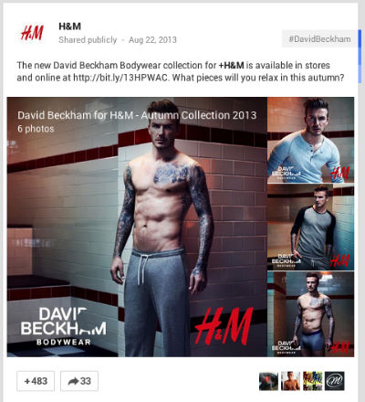 David Beckham H&M Google+