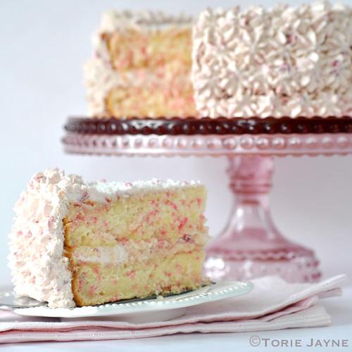 Raspberry sprinkles cake