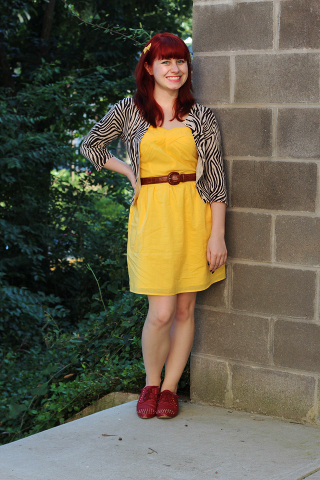 Yellow dress, zebra print cardigan, red oxford shoes