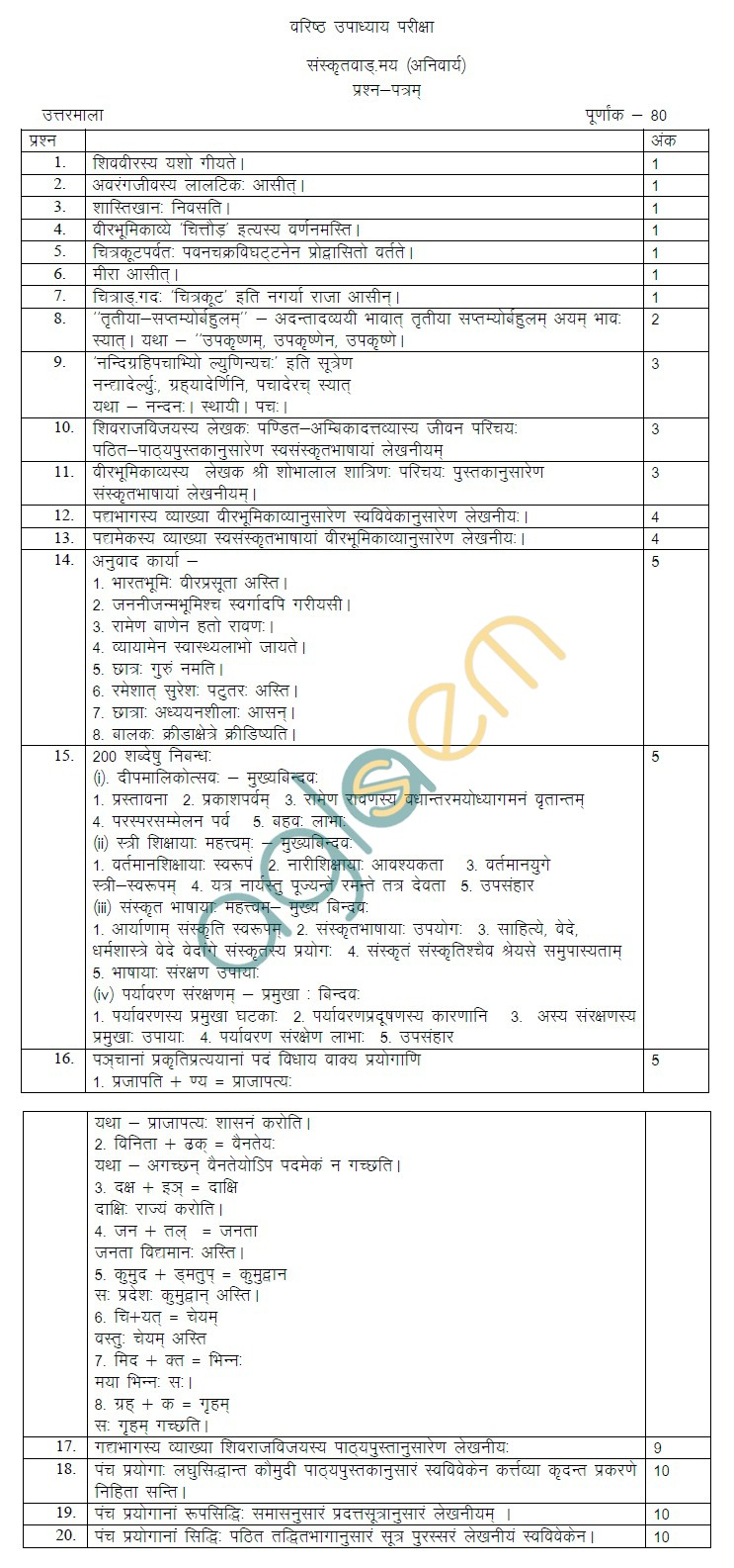 Rajasthan Board Class 12 Sanskrit Vangmay Model Question Paper