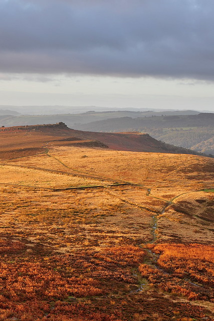 Over Owler Tor from Higger Tor at sunrise.