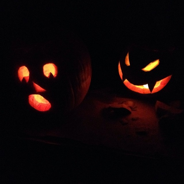 Two of the three. Designed by the girl. #pumpkins #halloween