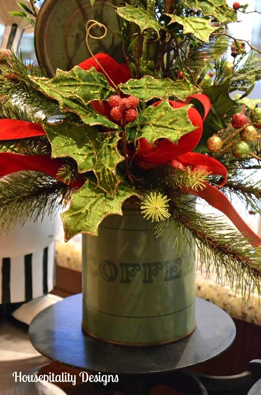 Christmas Arrangement in Vintage Coffee Tin