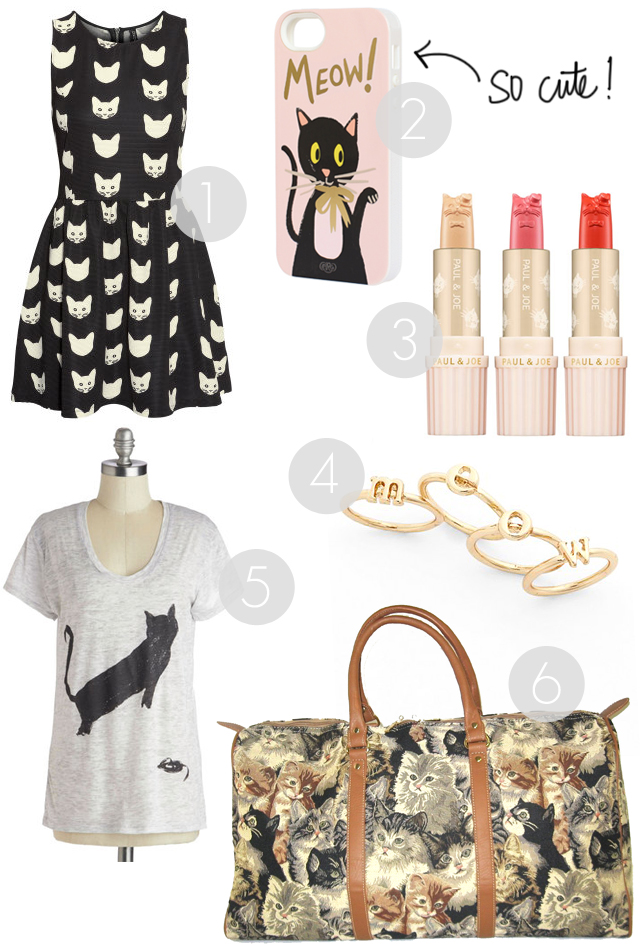 feline friday, gift ideas for cat lovers, urban outfitters, mod cloth, h&m cat dress, dainty gold cat ring, joe and paul cat lipstick, cat duffle bag