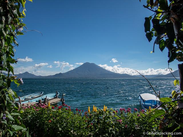Beautifully framed volcano and lake view from La Iguana Perdida
