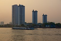 Condominiums seen from Asiatique - The riverfront by the Chao Phraya river in Bangkok, Thailand
