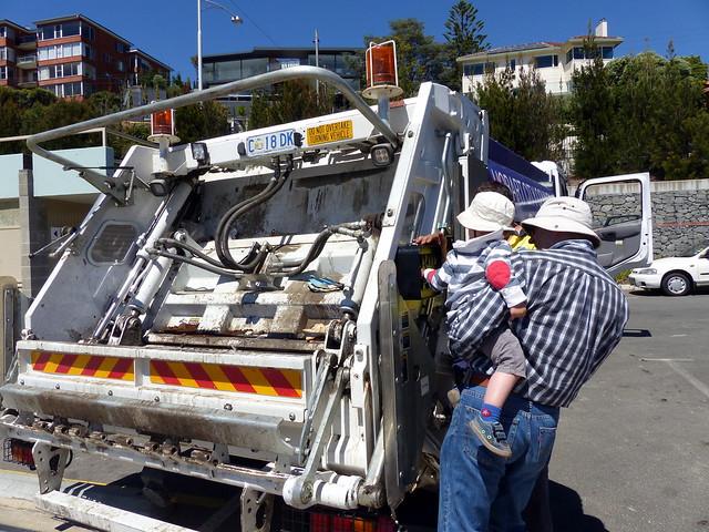 Eskil pressing bin truck buttons!