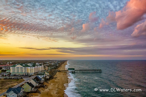 sunset sky beach coast nc aerialview northcarolina aerial coastal outerbanks kittyhawk obx eastcoast northcarolinacoast darecounty barrierisland kittyhawkpier outerbanksphotos pictureoftheouterbanks outerbanksphotography obxphotos