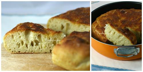 Focaccia all'olio d'oliva, patate e germe di grano