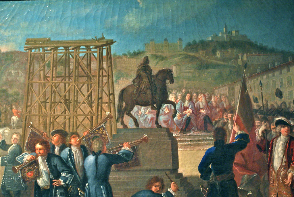 Inauguration de la premiere statue du Roi Louis XIV sur la place Bellecour à Lyon en 1713. Tableau de Charles Grandon