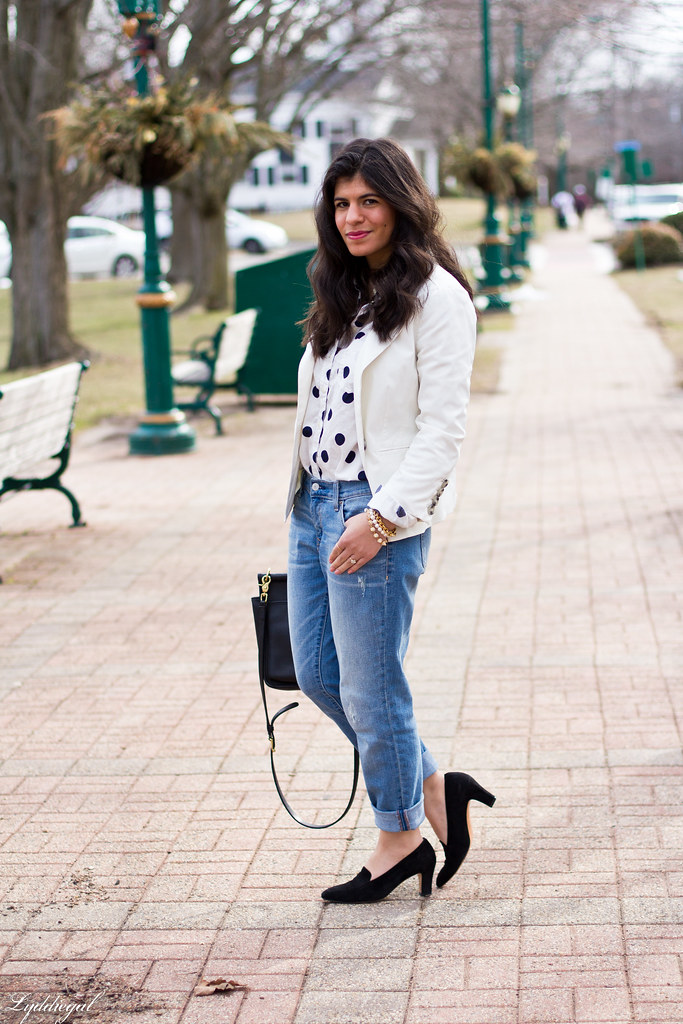 polka dot shirt, white blazer, boyfriend denim-1.jpg