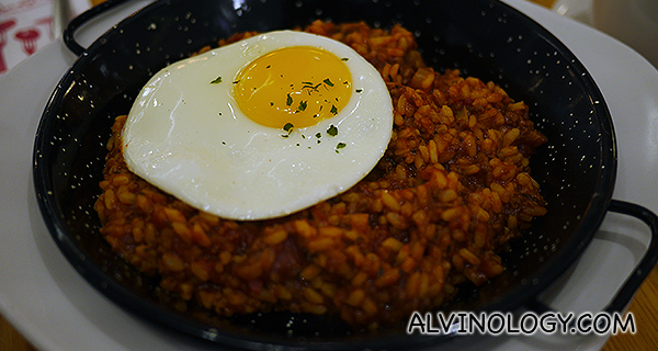 Tomato baked rice with a sunny side up egg