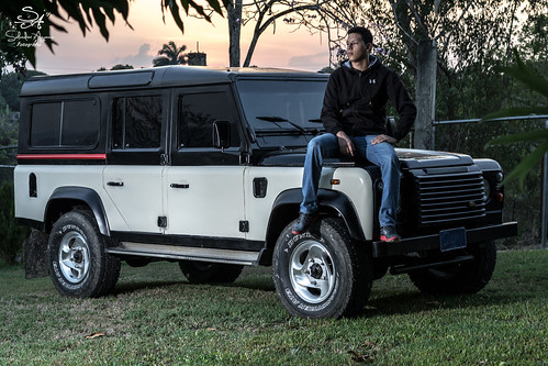 Land Rover Defender at sunset