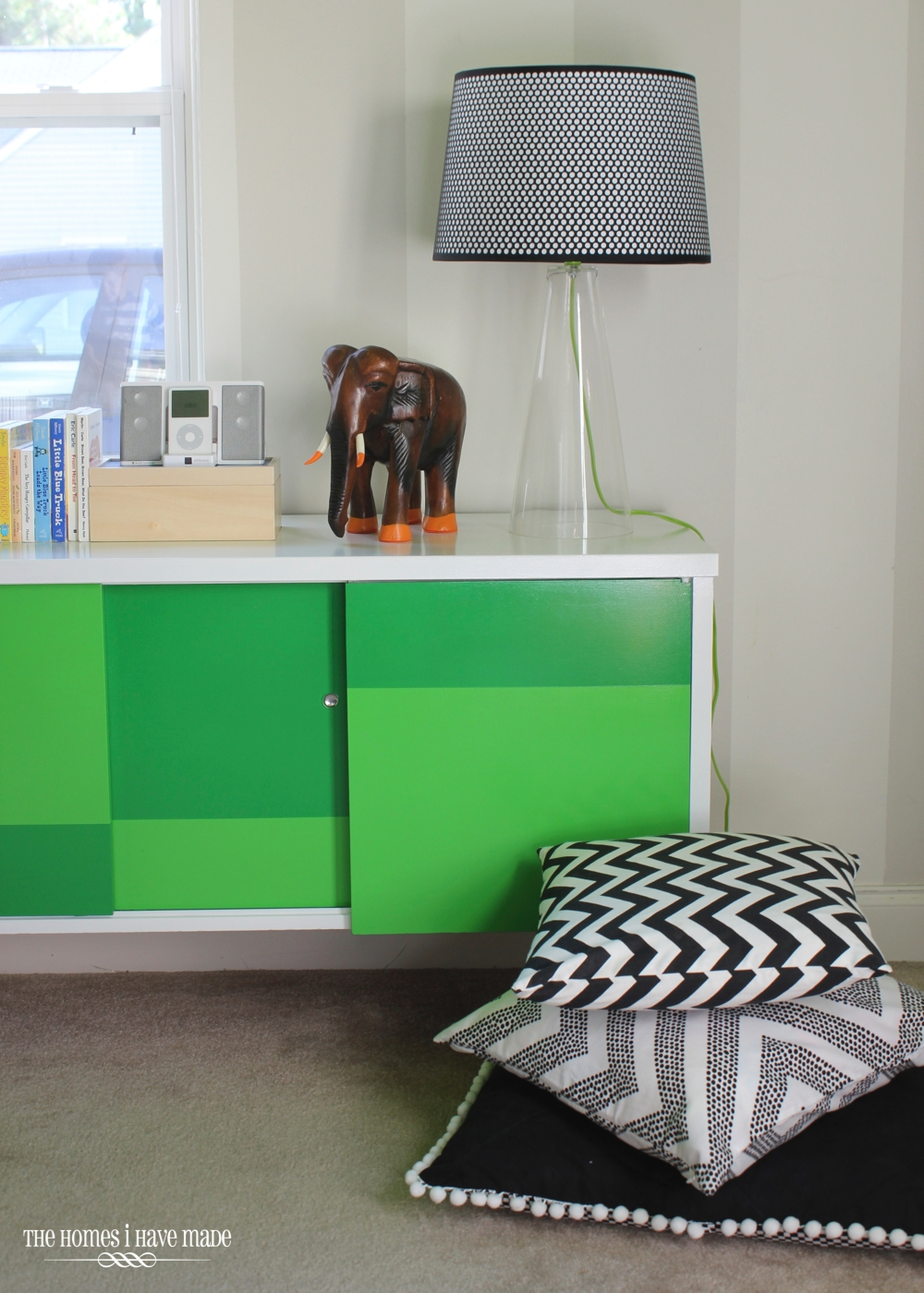 Green Color Block Credenza-008