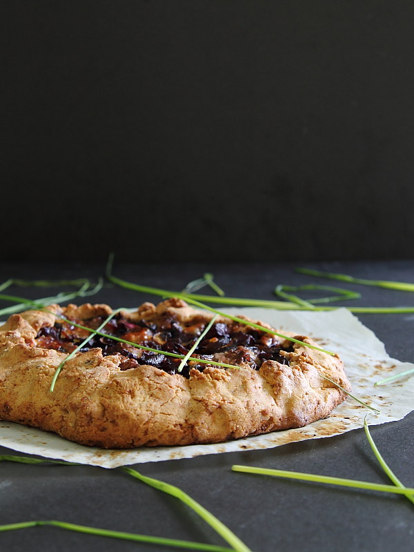 Gluten free mushroom beet and blue cheese galette