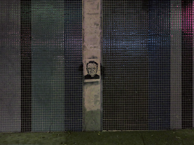 Robin Williams stencil on exterior wall of Whole Foods in the Haight, San Francisco (2015)