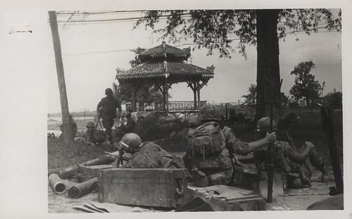 Marines Wait in a Park During a Lull in Fighting, 3 February 1968