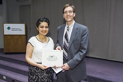 MPH Graduate Student Excellence Award presented to Roopsi Narayan by Bill Ayres