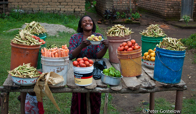 Service with a smile: Fruit and veg seller