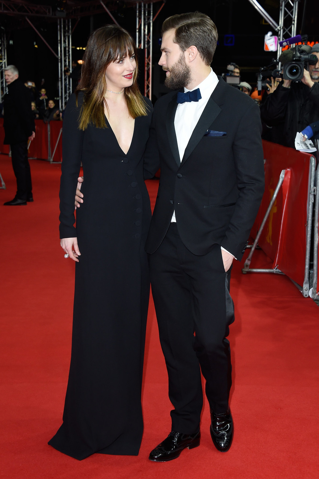 Berlin germany february 11 actress dakota johnson and actor jamie dornan attend the fifty shades of grey premiere during the 65th berlinale