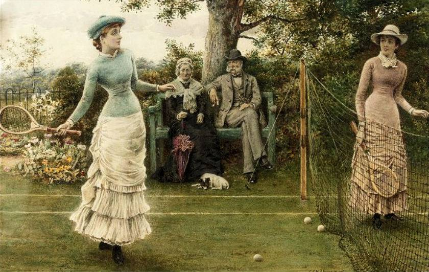 A Game of Tennis by George Goodwin Kilburne (English, 1839 - 1924)