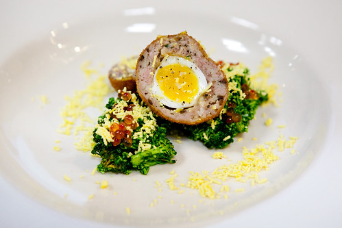 Scotch Quail Eggs with Brocolli Piccadilly, class led by Chef Paul Liebrandt