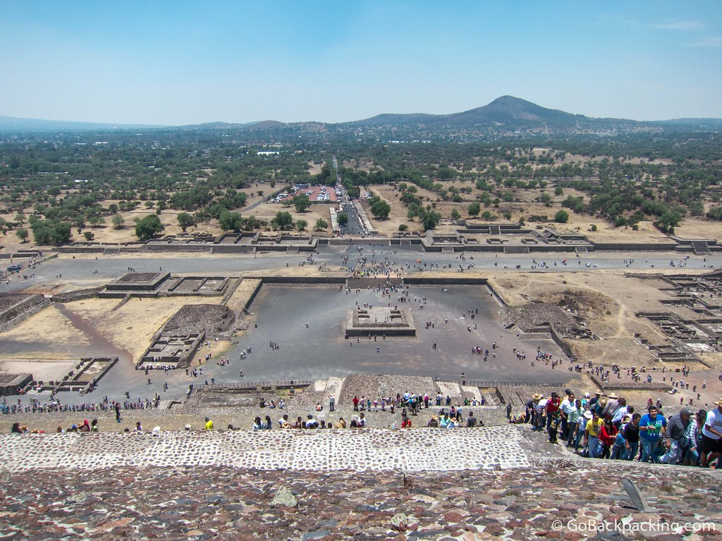 A straight view toward the Avenue of the Dead, which runs the length of Teotihuacan, from atop the Temple of the Sun.
