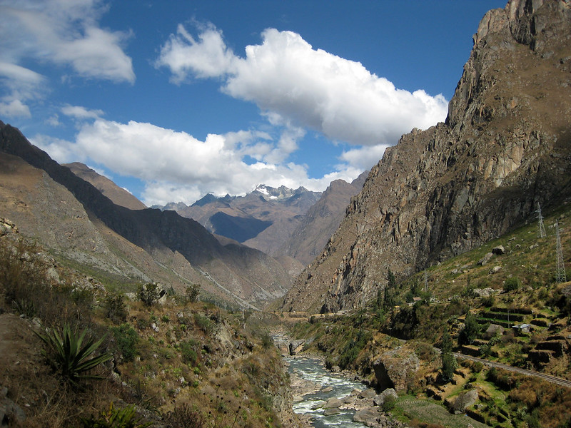 The view from a bridge crossing the Urubamba River at the start of the trail