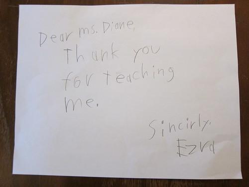 Ezra's note to Diane