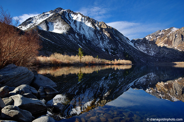 Morning lake and mountain reflection in the Eastern Sierras.