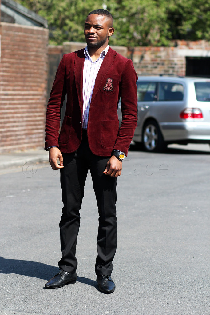 Men&39s burgundy corduroy blazer striped shirt &amp black trousers