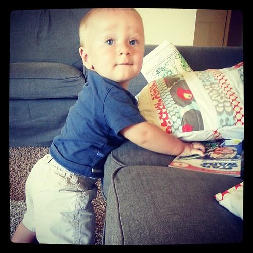 Now he can pull himself up on furniture. #mobilebabiesaretheworst #mybabyisgrowingtofast