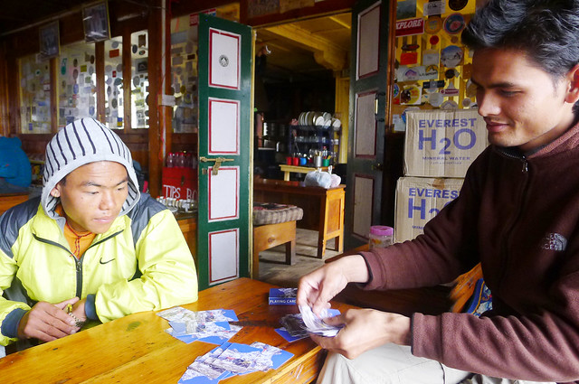 Everest Base Camp Trek - playing cards with my guide and porter