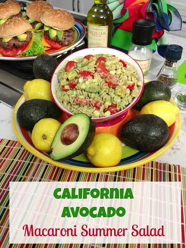 Macaroni salad made with a dressing of California Avocados and low-fat Greek yogurt